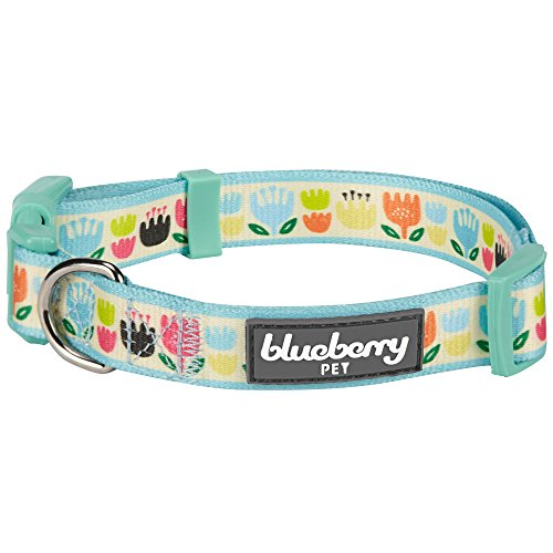 Image of Blueberry Pet 8 Patterns Spring Multicolor Tulip Floral Print Dog Collar in Pastel Blue, Medium, Neck 14.5