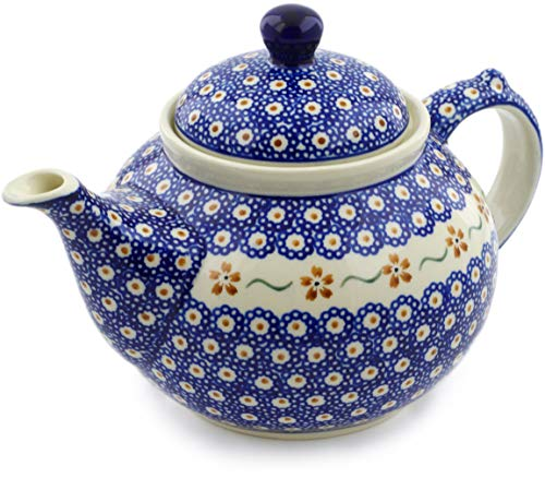 Polish Flower Pot (Polish Pottery 50 oz Tea or Coffee Pot (Sweet Red Flower Theme) + Certificate of Authenticity)