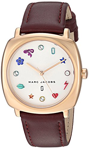 Marc Jacobs Women's 'Mandy' Quartz Stainless Steel and Leather Casual Watch, Color:Red (Model: (Marc Jacobs Red Leather)