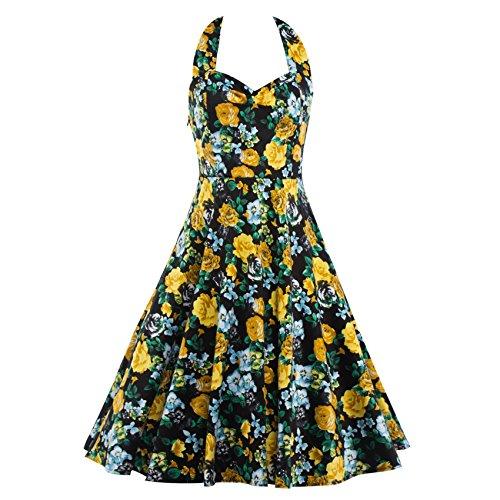 Motif Floral Vintage Femmes Biubiu Une Robes De Soirée Swing Cocktail Ligne Bleu-licol Noir