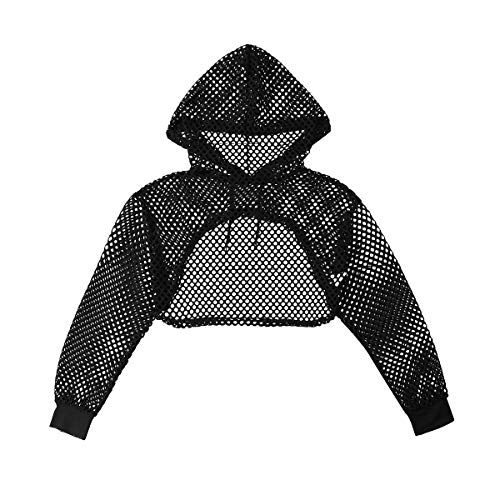 Agoky Sexy Womens Fishnet Hollow Out Hooded Crop Top Long Sleeve Pullover Nightclub Shirts Blouses Black Large