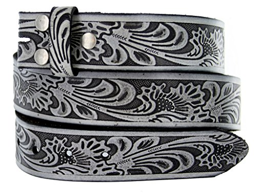 Embossed Leather Belt Buckle - Western Floral Embossed Vintage Soft Genuine Leather Belt Strap 1.5