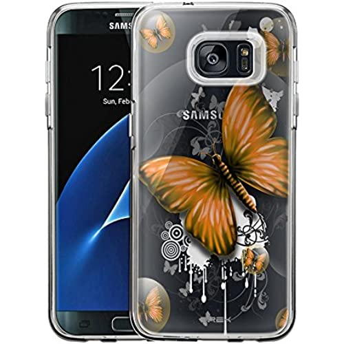 Samsung Galaxy S7 Edge Case, Slim Fit Snap On Cover by Trek Highlighted Butterfly Orange Clear Case Sales