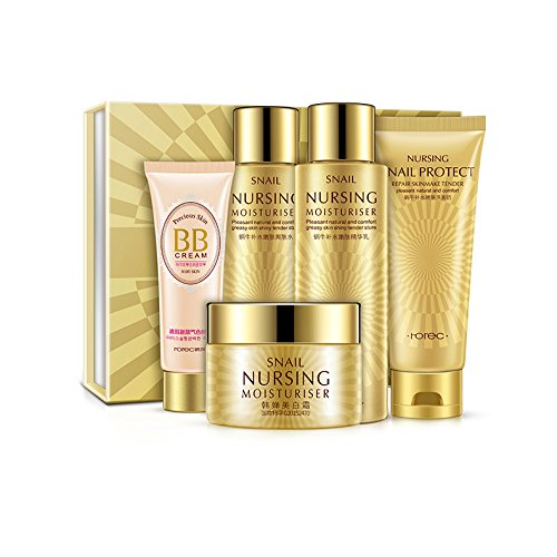 Snail Essence Skin Care Makeup Set Pack of 5 PC Including Cleanser, Makeup Supple, Essence Cream, BB Cream and Emulsion Gift Set