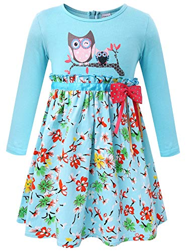 Girls Owl Printed Pure Cotton Long Sleeve Casual Flower Pleated Blue Dress 5 ()