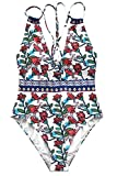 CUPSHE Spring Blossoms Print One-Piece Swimsuit Beach Swimwear Bathing Suit (XL)