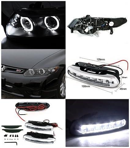 cívica 2DR Coupe Halo Proyector Faros negro + LED DRL luces antiniebla: Amazon.es: Coche y moto