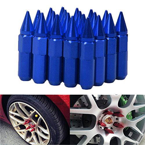 - EDJIAN 60mm 12x1.25 Aluminum Wheel Hug Nut 20 PCS Spike Mounted Extend Nut Refit Hex Lug Nut(blue)