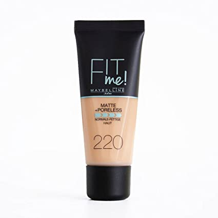 Maybelline Fit Me Base de Maquillaje Mate, Sin Poros, 220 Beige Natural - 30