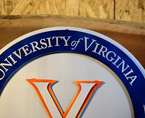 Gear New University of Virginia Crest 3D Vintage Metal College Man Cave Art, Large, Orange/White/Blue by Gear New (Image #5)