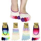 kilofly Women's No Show Lightweight Striped Toe Socks, Set of 4 Pairs