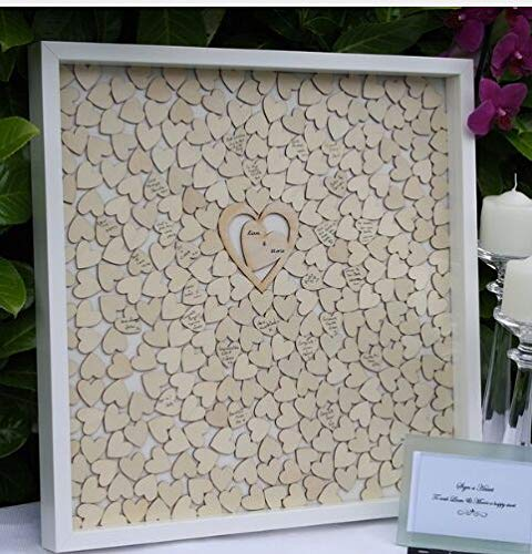 (Guestbook MarthaFox 40x40cm Wedding Guest Book Frame,Custom Alternatives Drop Box,Wood Heart Guest Book,Signature Frame, Wedding Decor N535474)