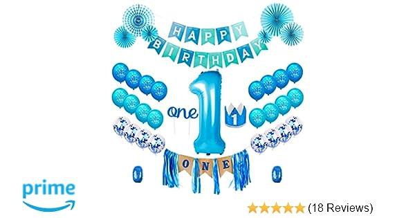 QIFU 1st Birthday Boy Decorations Kit