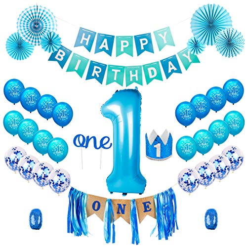 1st Birthday Boy Decorations Kit - Baby Boy First Birthday Decorations One Year Balloon, Blue Happy Birthday Banner,High Chair Banner, Blue Hat Crown, Cake Topper