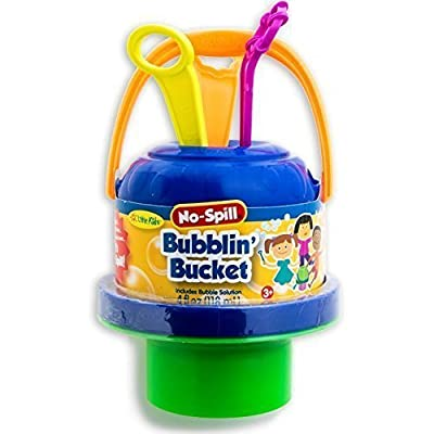 Little Kids No Spill Big Bubble Bucket Outdoor Summer Play Time Childern Sharing Multicolored: Toys & Games