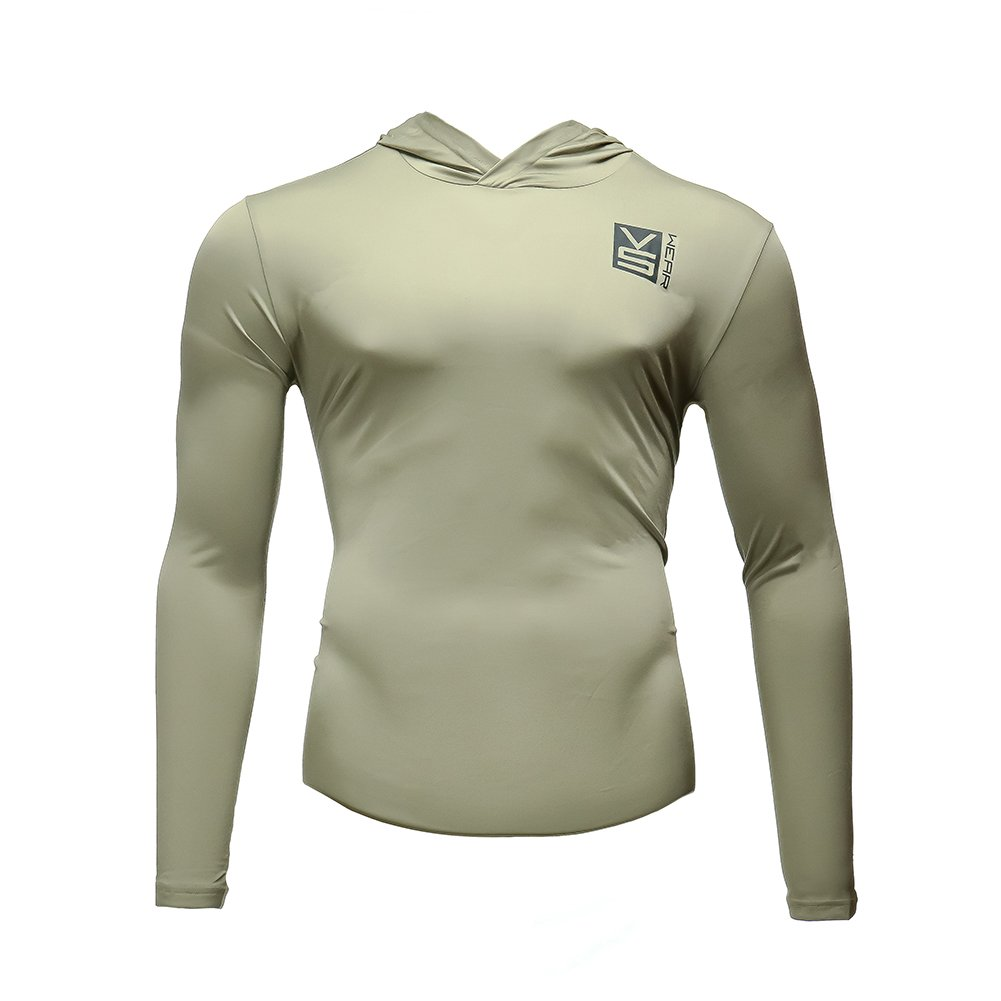Fusion VS Wear Men's Microfiber Slim Fit Compression Long Sleeve Athletic Sport Performance Training Thermal Baselayer Tactical Hoodie Shirt Made in USA Large Tan