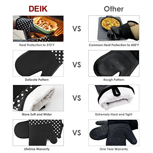Deik Oven Mitts, Non-Slip Silicone Oven Mitts, Heat Resistant to 572 °F Kitchen Oven Gloves for Cooking, Baking, Barbebue Potholder, 1 Pair, Black