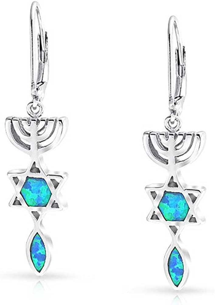 Genuine .925 Sterling Silver Filigree Cross Earrings With Synthetic White Opal