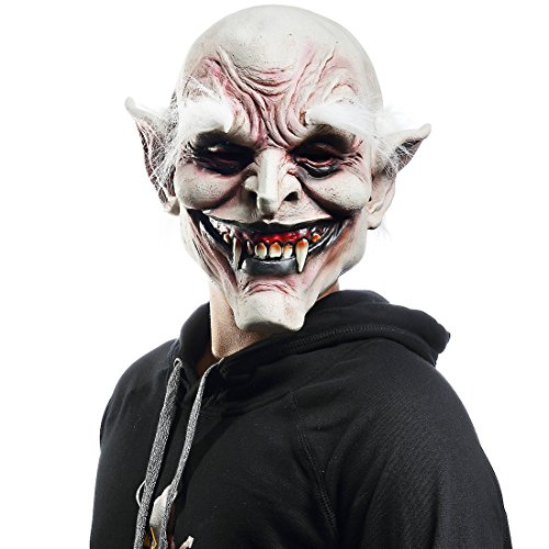 Mo Fang Gong She Halloween Hell Devil Scary Satan Cosplay Horror White Hair Vampire Latex Masks ()
