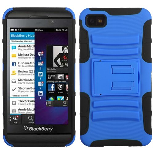 MyBat ABB10HPCSAAS005NP Advanced Rugged Armor Hybrid Combo Case with Kickstand for BlackBerry Z10 - Retail Packaging - Dark Blue/Black
