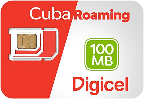 Digicel Cuba Roaming SIM Card, Pre-Loaded 100 MB of Data.
