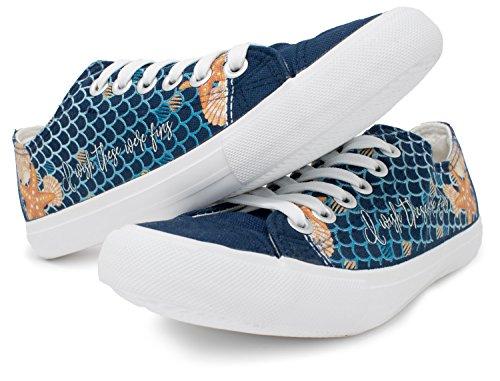 Mermaid Wish These Were Fins Sneakers | Cute Gym Tennis Shoe Women Men Little - (Lowtop, US Men's 10, US Women's 12)