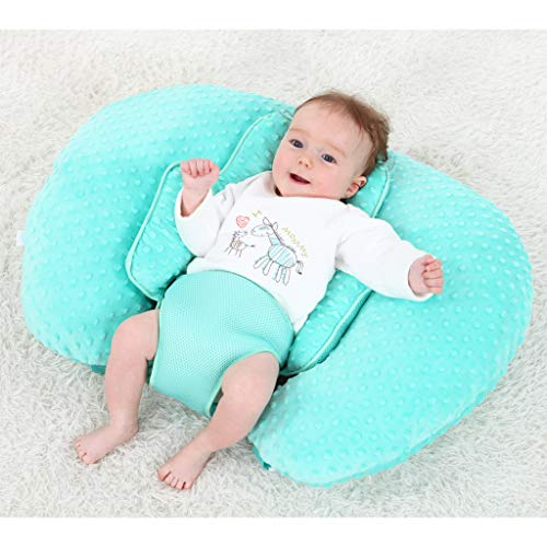 KAKIBLIN 2 in 1 Organic Cotton Baby Anti Flat Head Pillow and Nursing Pillow for Breastfeeding, Portable Bottle Feeding Pillow(Lamb)
