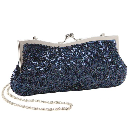 Dazzling Hand Sequined Navy Blue Baguette Style Evening Clutch Purse w/ Chains