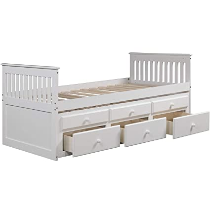 Amazon.com: Captain's Bed Twin,JULYFOX Daybed with Trundle Bed and