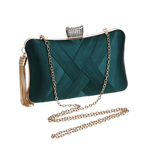 Weave Chain with Wedding Box With Tassel Evening Bag Hard Satin Andear Clutch Silk Party Atrovirens for Purse and qYxdHpq