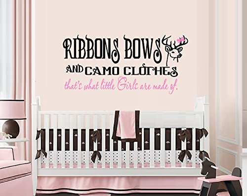 RIBBONS-BOWS-AND-CAMO-CLOTHES-Thats-what-little-girls-are-made-of-WALL-DECAL-13-X-27