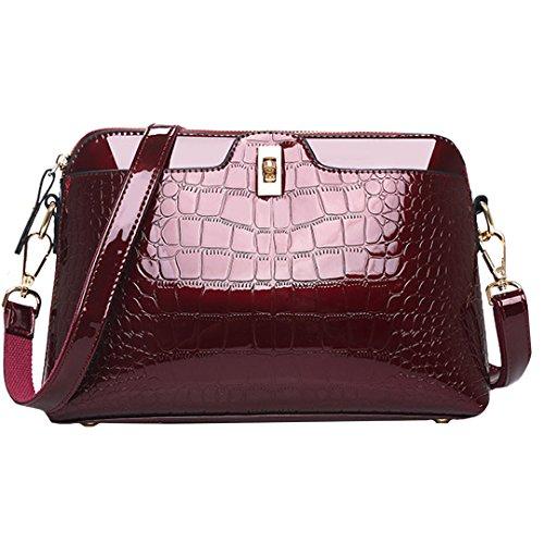 - Solid Color PU Patent Leather Alligator Handbag Shoulder Bag Cross Body Bag Burgundy