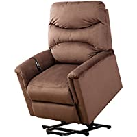 BONZY Lift Recliner Power Lift Chair Soft and Warm Fabric with Remote Control for Gentle Motor - Chocolate