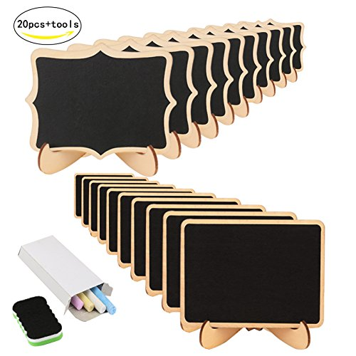 Dessert Table Setting (Mini Chalkboard,KAKOO 20 Pcs Blackboard With Stand for Party Wedding Table Number Message Board Signs.)