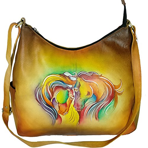 Charmeine Women's Leather Shoulder Bag Painted 38 cm x 32.9 cm x 12 cm Multi Color by Charmeine