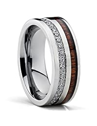 Metal Masters Co.® Titanium Men's Wedding Band Ring With Real Koa Wood Inlay Cubic Zirconia CZ, 8MM Comfort Fit