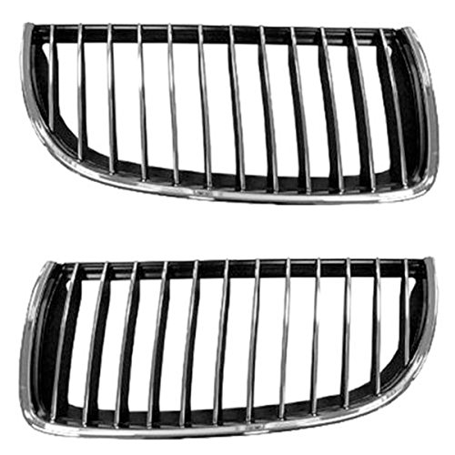 Koolzap For NEW 06 07 08 3-Series Sedan Front Grill Grille Assembly Left Right Side SET PAIR Br Chrome Grille Grill