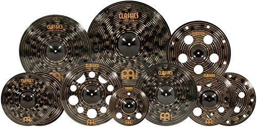 "Meinl Cymbals Cymbal Hihats, 22 Ride, 20 China, 16 Stack, Plus a Free 18 Crash and 12"" Trash Splash Made in Germany, Two-Year Warranty, Classics Custom Dark Ultimate Set (CCD-ES2)"
