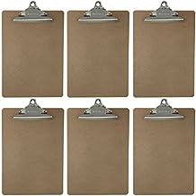 Letter Size Clipboard Standard Clip 9'' x 12.5'' Hardboard (Pack of 6)