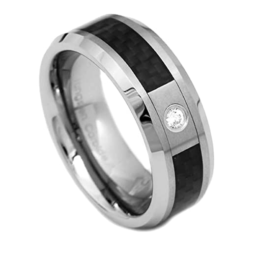 8mm Tungsten Black Carbon Fiber Inlay Cubic Zirconia Ring Mens Wedding Band Size 9