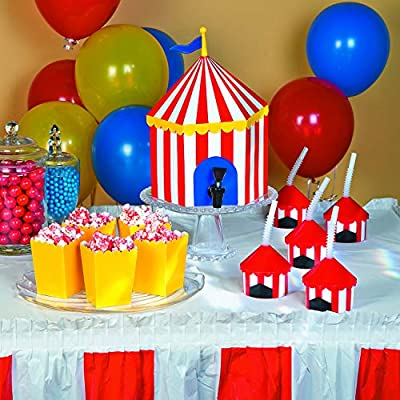 Big Top Plastic Cups with Straw,12 pack: Toys & Games