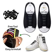 Konsait No-Tie Silicone Elastic Shoe Laces for 16pcs/Adults(Black)