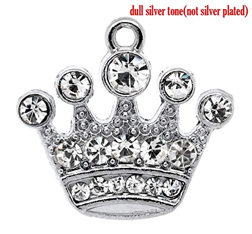 1 Piece Zinc Metal Alloy Rhinestone Charm Pendants Crown Silver Tone White Rhinestone 21mmx20mm