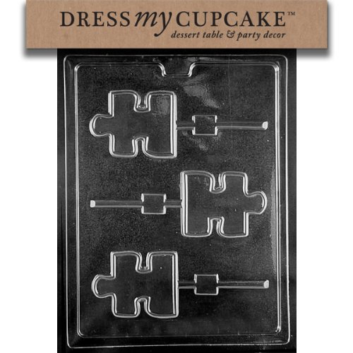 Dress My Cupcake Chocolate Candy Mold, Puzzle Piece Lollipop Autism Awareness (Puzzle Awareness Ribbon Style)