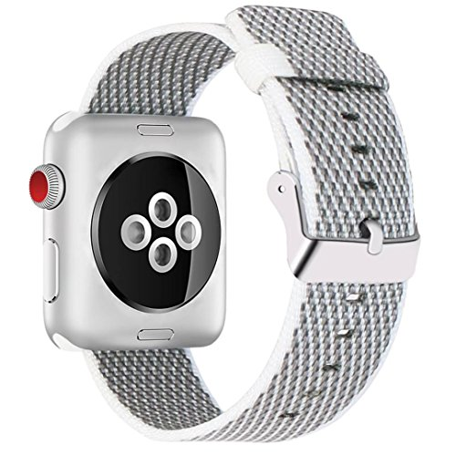 INTENY Newest Woven Nylon Fabric Wrist Strap Replacement Band with Classic Square Stainless Steel Buckle Compatible for Apple iWatch Series 1/2/3,Sport & Edition,38mm,White Check