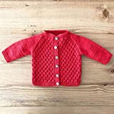 Hand Knitted Baby Cardigan - GOTS Organic Cotton - Honeycomb Style, Red | 0-6 Months