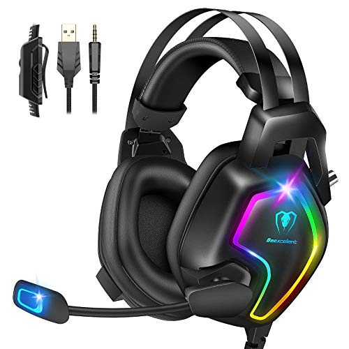 Gaming Headset for PS4 PC Xbox One Controller, Professional PS4 Headset with 7.1 Surround Sound, Noise Cancelling Mic, RGB LED Light, Soft Memory Earmuffs for PC Laptop Tablet Mac