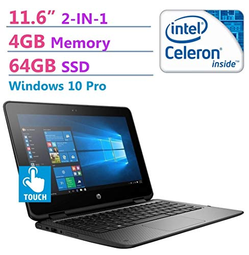 HP ProBook 2-in-1 Convertible 11.6in HD Touchscreen Laptop PC, Intel N3350 Processor, 64GB SSD, 4GB RAM, 802.11ac, Bluetooth, HDMI, Windows 10 Pro (Renewed)