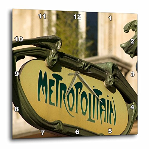 3dRose dpp_81445_1 Metro Entrance Sign, Paris, France Eu09 Dbn0677 David Barnes Wall Clock, 10 by (Metro Sign)