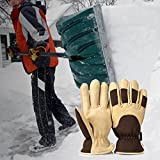 OZERO Work Gloves, with Deerskin Suede Leather Shell and Thermal Fleece Lining Inserted Thinsulate Insulated Cotton Layer - Keep Warm in Cold Weather Work for Women and Men (Brown,Large)
